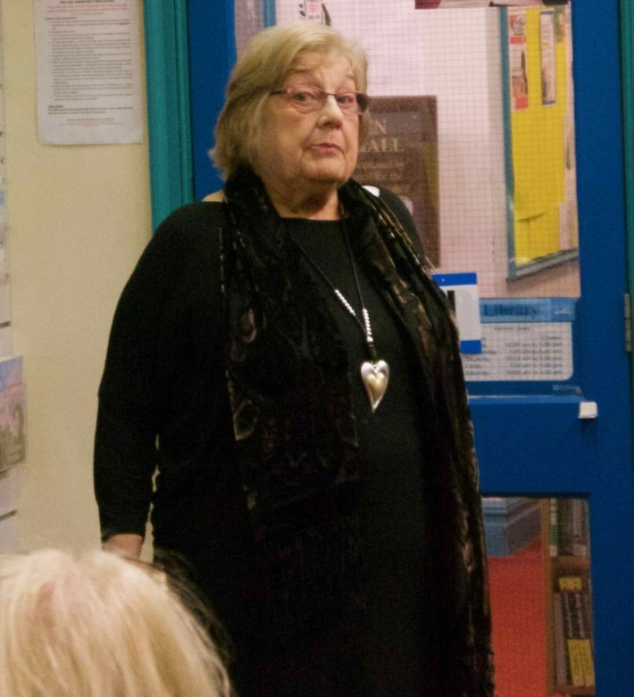 Jean Bennett, ever the school head, Marsden Write Out Loud 18th January 2017