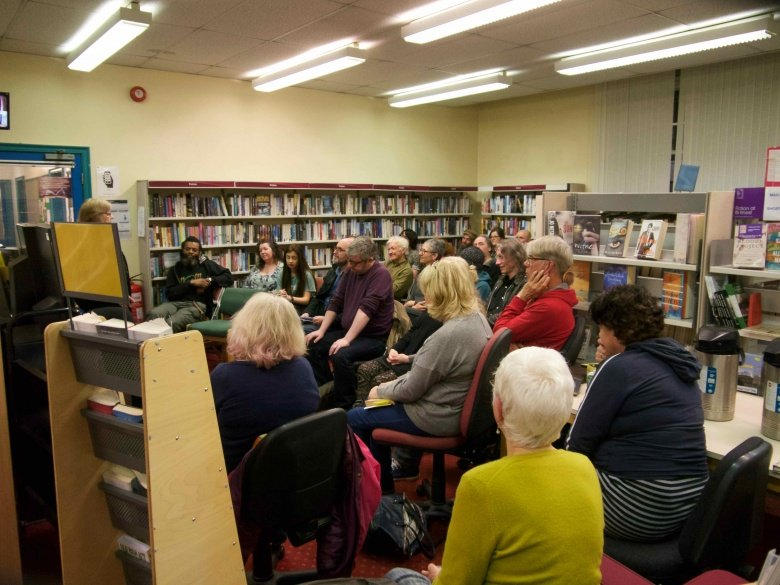 Jean Bennett and audience at Marsden Write Out Loud 18th January 2017